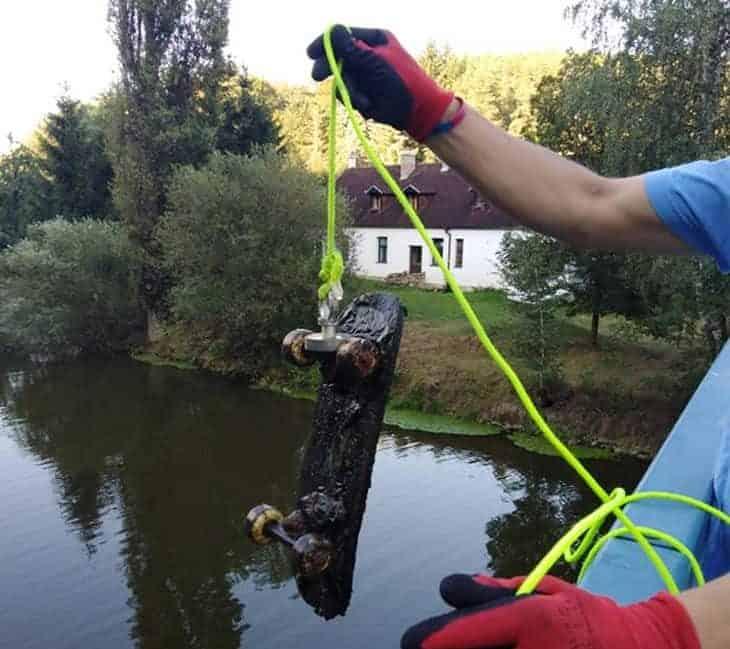 skateboard magnet fishing