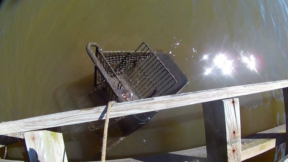 magnet fishing shopping cart