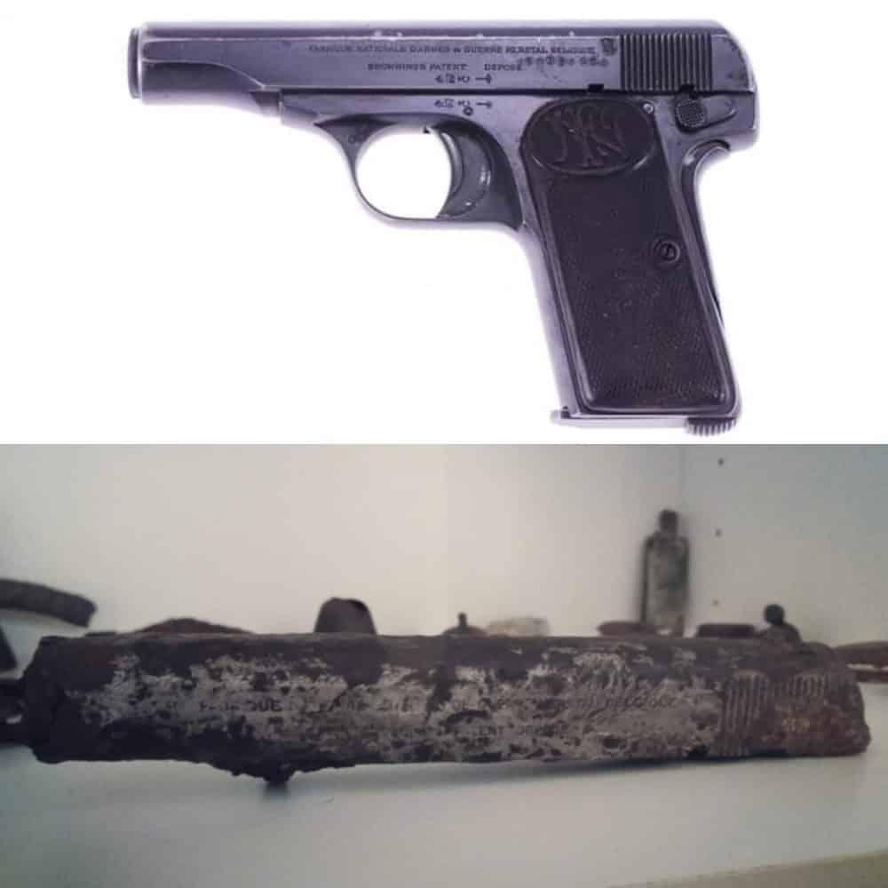 očistená hlaveň pištole