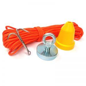 magnet 290 kg + ochranný kužeľ + hák + lano 30 metrov