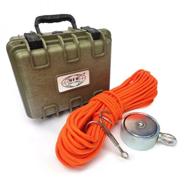 obojstranný magnet 500 kg + hák + lano 30 metrov + prepravný box