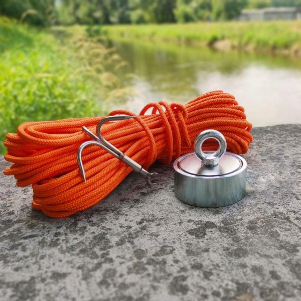 obojstranný magnet 500 kg + hák + lano 30 metrov